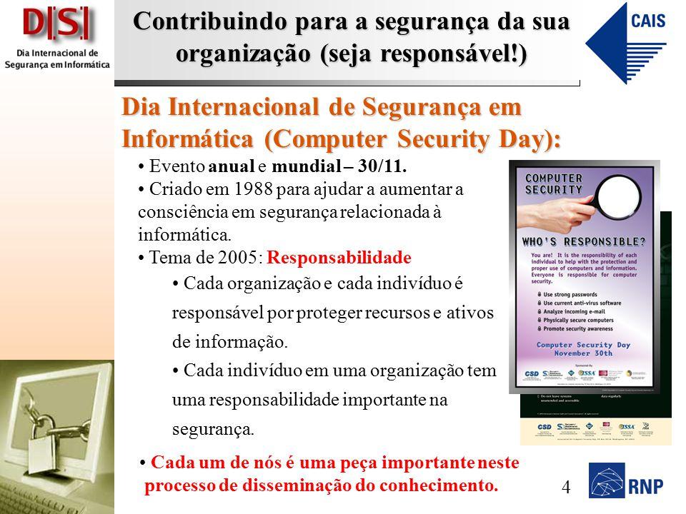 Contribuindo para a segurança da sua organização (seja responsável!) Dia Internacional de Segurança em Informática (Computer Security Day): Evento anual e mundial – 30/11.