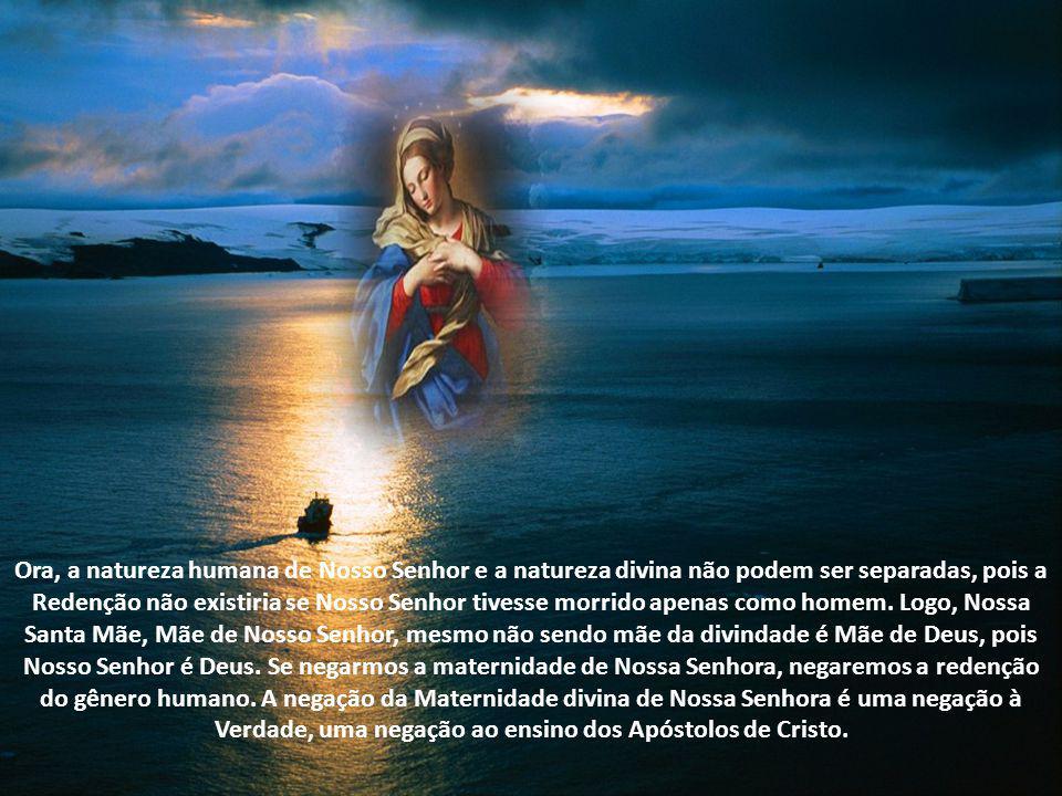 Ela não é a Mãe da Divindade ou da Trindade, mas é mãe de Cristo a segunda pessoa da Santíssima Trindade, que também é Deus. Sendo Jesus Deus, Maria é