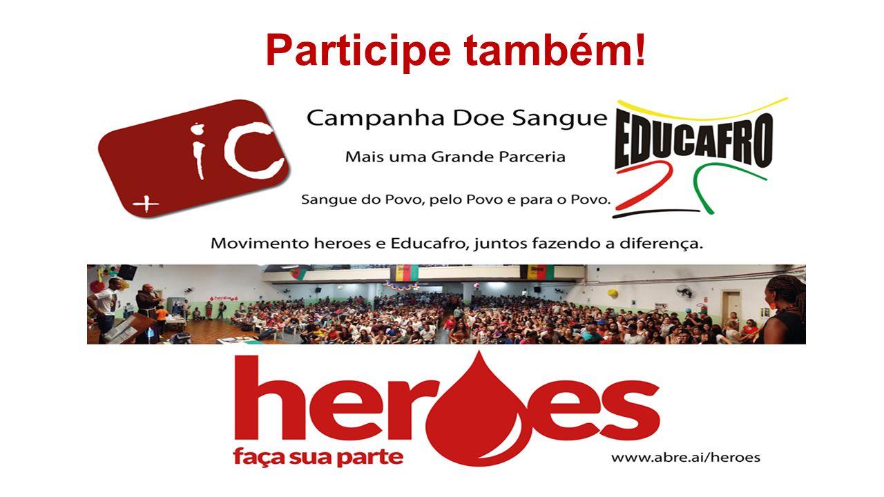 Participe doando sangue e baixando o aplicativo no seu celular com o sistema Android através do endereço www.abre.ai/heroes ou play estore da google;www.abre.ai/heroes Participe também!