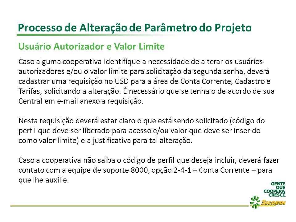 Processo de Alteração de Parâmetro do Projeto Usuário Autorizador e Valor Limite Caso alguma cooperativa identifique a necessidade de alterar os usuár