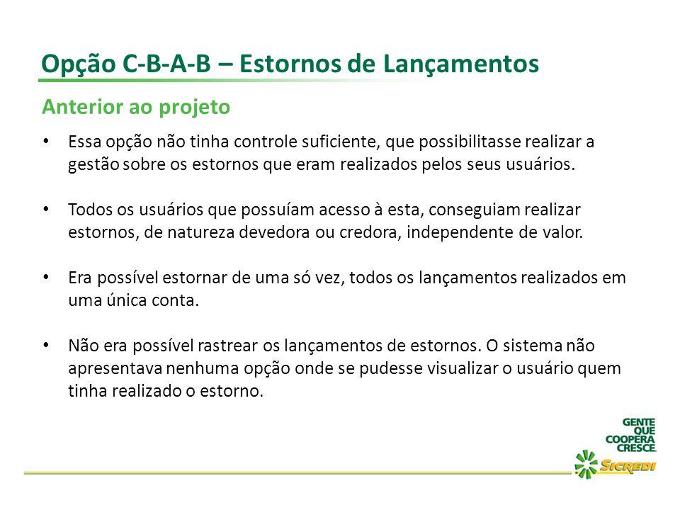 Opção C-B-A-B – Estornos de Lançamentos Anterior ao projeto Essa opção não tinha controle suficiente, que possibilitasse realizar a gestão sobre os es