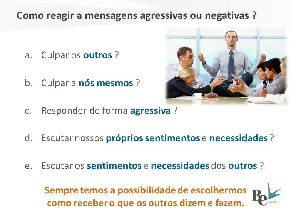 Como reagir a mensagens agressivas ou negativas ? Sempre temos a possibilidade de escolhermos como receber o que os outros dizem e fazem. a.Culpar os
