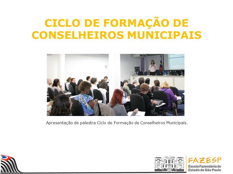 CICLO DE FORMAÇÃO DE CONSELHEIROS MUNICIPAIS Apresentação de palestra Ciclo de Formação de Conselheiros Municipais.