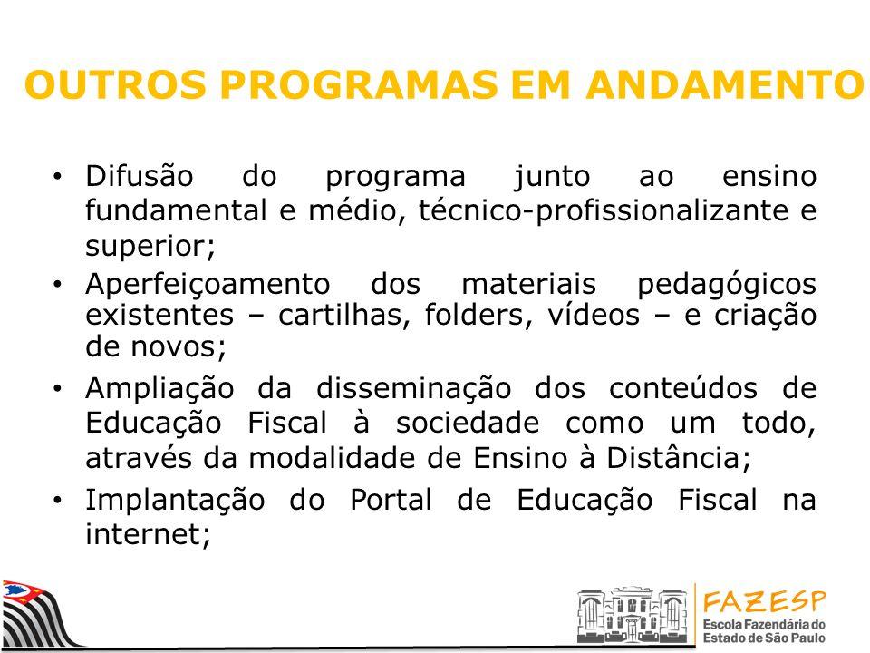 OUTROS PROGRAMAS EM ANDAMENTO Difusão do programa junto ao ensino fundamental e médio, técnico-profissionalizante e superior; Aperfeiçoamento dos mate