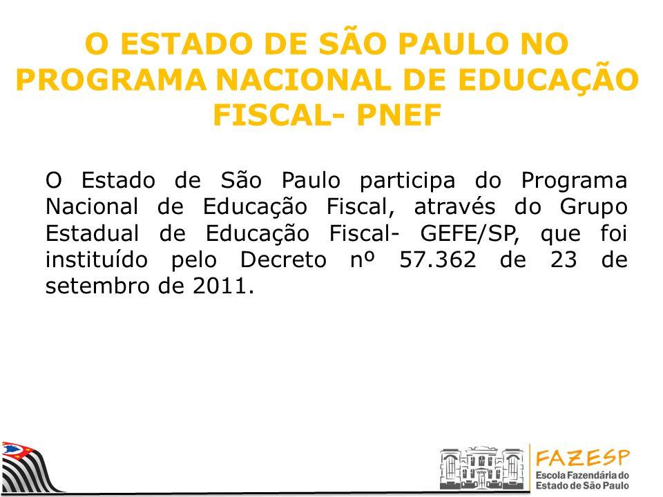 O ESTADO DE SÃO PAULO NO PROGRAMA NACIONAL DE EDUCAÇÃO FISCAL- PNEF O Estado de São Paulo participa do Programa Nacional de Educação Fiscal, através do Grupo Estadual de Educação Fiscal- GEFE/SP, que foi instituído pelo Decreto nº 57.362 de 23 de setembro de 2011.
