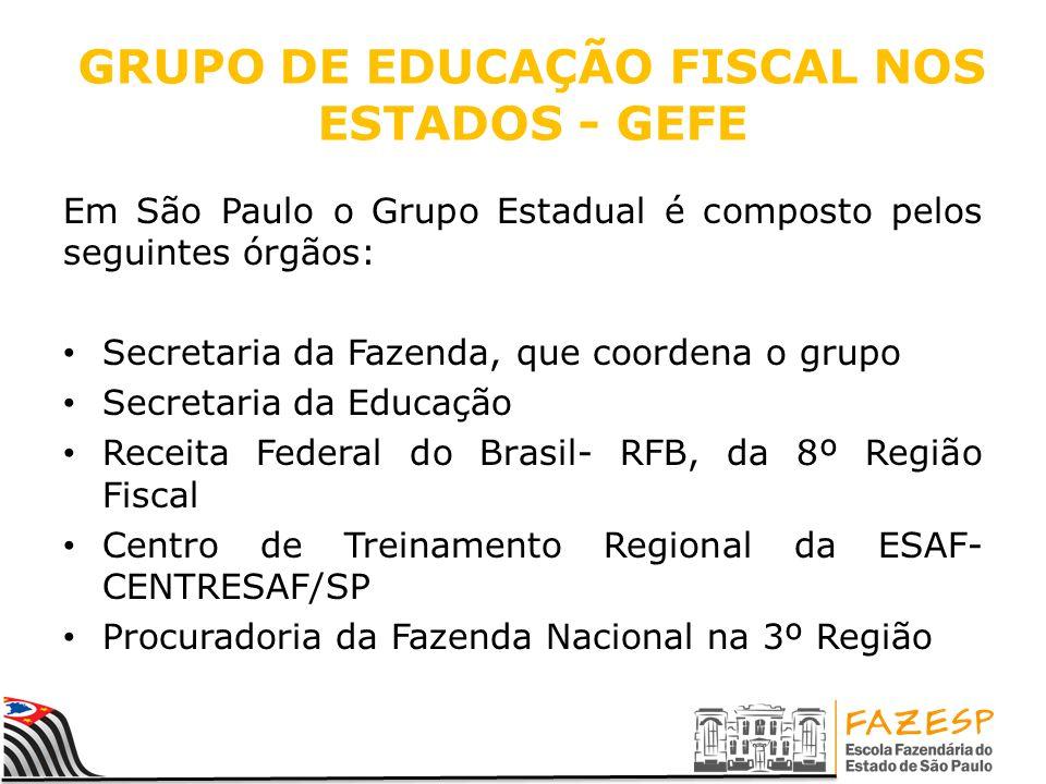 GRUPO DE EDUCAÇÃO FISCAL NOS ESTADOS - GEFE Em São Paulo o Grupo Estadual é composto pelos seguintes órgãos: Secretaria da Fazenda, que coordena o gru