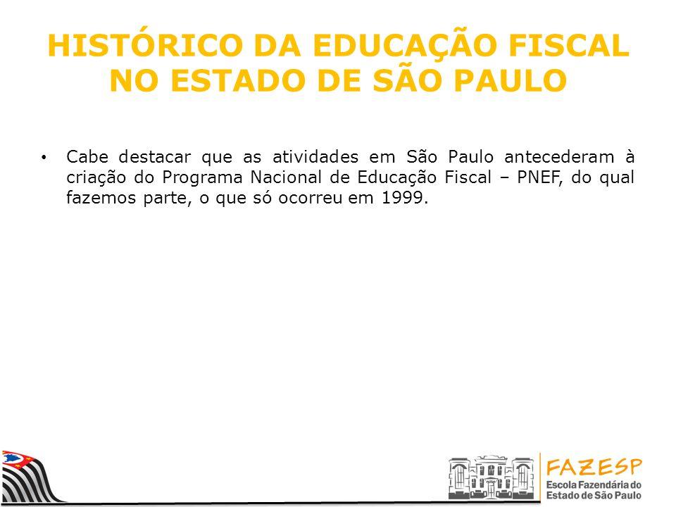 HISTÓRICO DA EDUCAÇÃO FISCAL NO ESTADO DE SÃO PAULO Cabe destacar que as atividades em São Paulo antecederam à criação do Programa Nacional de Educação Fiscal – PNEF, do qual fazemos parte, o que só ocorreu em 1999.