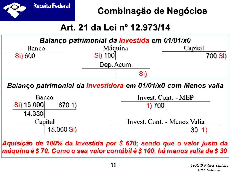 AFRFB Nilson Santana DRF/Salvador Balanço patrimonial da Investida em 01/01/x0 Art. 21 da Lei nº 12.973/14 Máquina Capital Banco Si) 600 700 Si) Si) 1