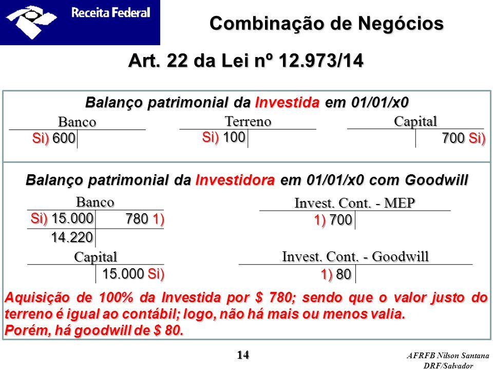 AFRFB Nilson Santana DRF/Salvador Balanço patrimonial da Investidora em 01/01/x0 com Goodwill Balanço patrimonial da Investida em 01/01/x0 Art. 22 da