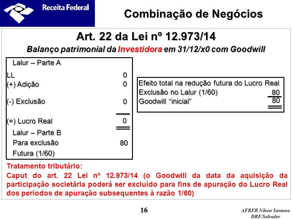"""AFRFB Nilson Santana DRF/Salvador Goodwill """"inicial"""" Efeito total na redução futura do Lucro Real Tratamento tributário: Art. 22 da Lei nº 12.973/14 B"""