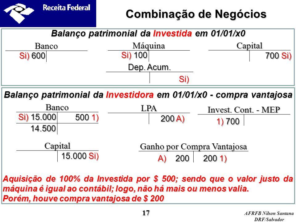 AFRFB Nilson Santana DRF/Salvador Balanço patrimonial da Investidora em 01/01/x0 - compra vantajosa Balanço patrimonial da Investida em 01/01/x0 Máqui