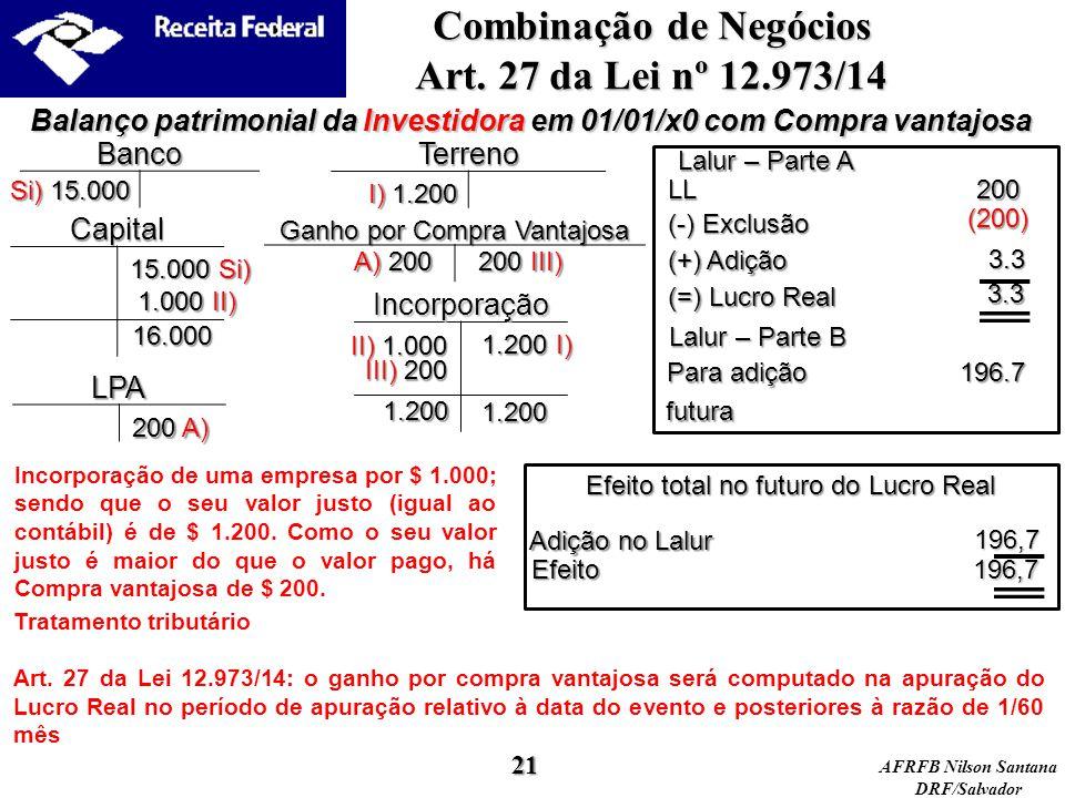 AFRFB Nilson Santana DRF/Salvador Incorporação Ganho por Compra Vantajosa Capital Banco3.3 Balanço patrimonial da Investidora em 01/01/x0 com Compra v