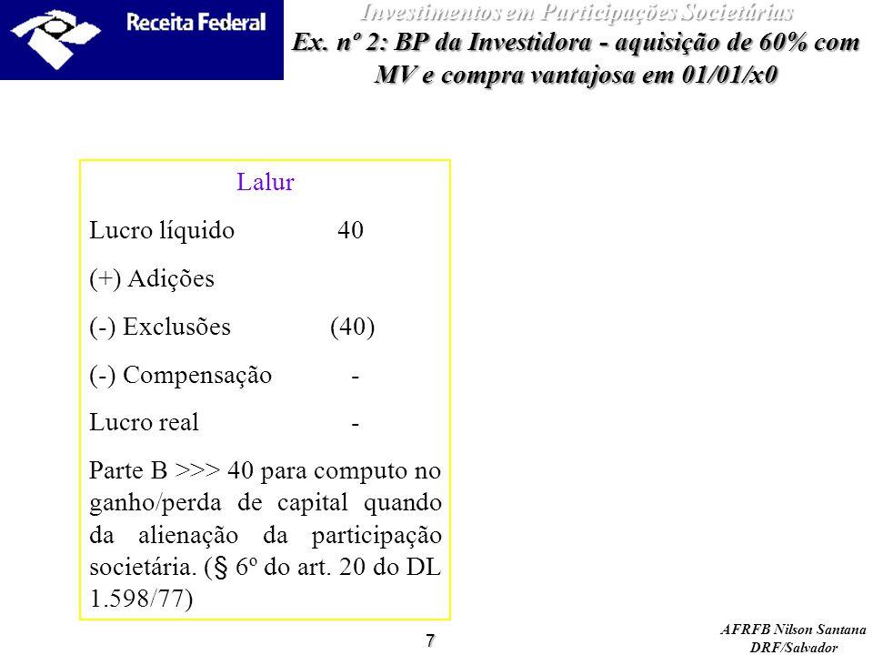 AFRFB Nilson Santana DRF/Salvador 7 Investimentos em Participações Societárias Ex. nº 2: BP da Investidora - aquisição de 60% com MV e compra vantajos