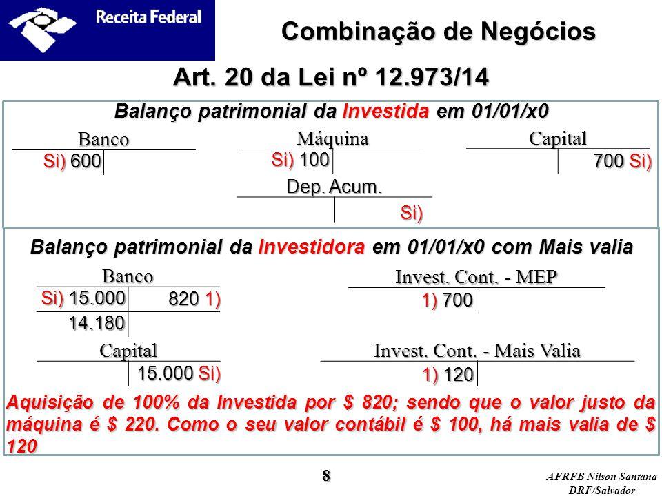 AFRFB Nilson Santana DRF/Salvador Balanço patrimonial da Investida em 01/01/x0 Art. 20 da Lei nº 12.973/14 Máquina Capital Banco Si) 600 700 Si) Si) 1