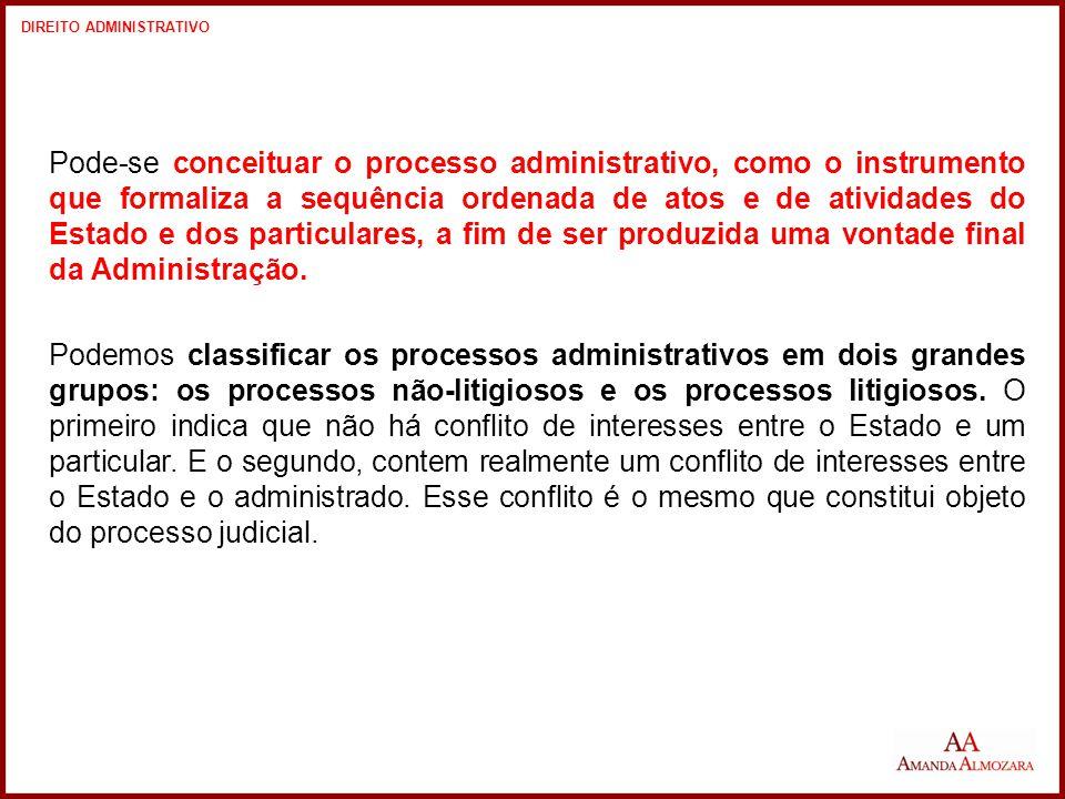 Pode-se conceituar o processo administrativo, como o instrumento que formaliza a sequência ordenada de atos e de atividades do Estado e dos particulares, a fim de ser produzida uma vontade final da Administração.