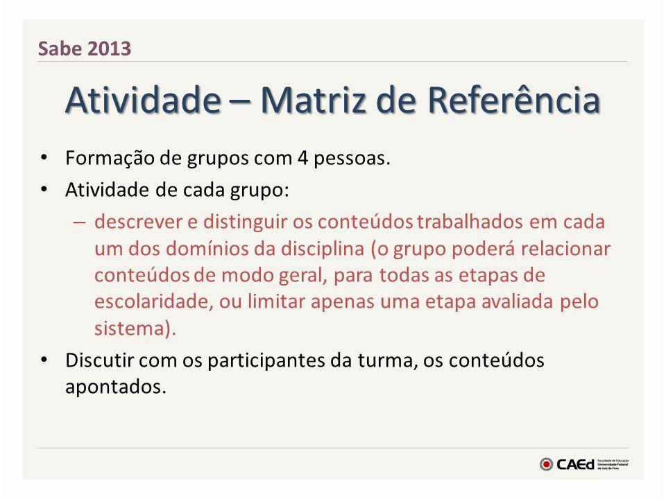 Atividade – Matriz de Referência Cada grupo ficará responsável por um domínio da disciplina.