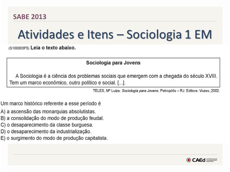 Atividades e Itens – Filosofia 1 EM SABE 2013