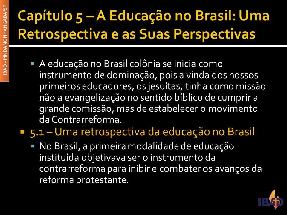 IBAD – PINDAMONHANGABA/SP  A educação no Brasil colônia se inicia como instrumento de dominação, pois a vinda dos nossos primeiros educadores, os jes