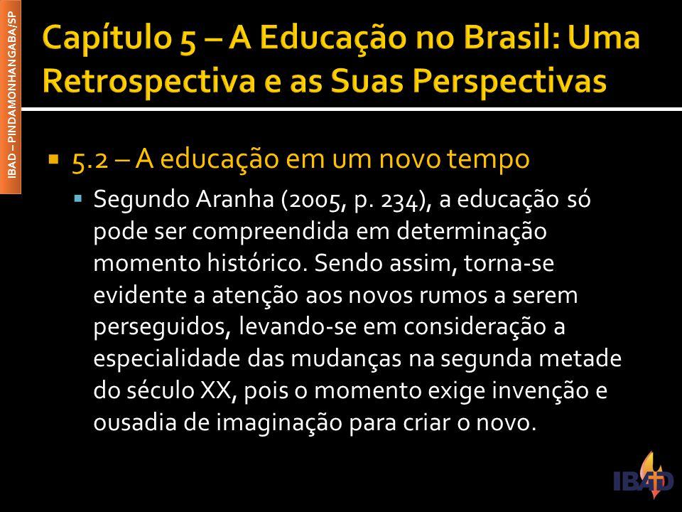 IBAD – PINDAMONHANGABA/SP  5.2 – A educação em um novo tempo  Segundo Aranha (2005, p. 234), a educação só pode ser compreendida em determinação mom