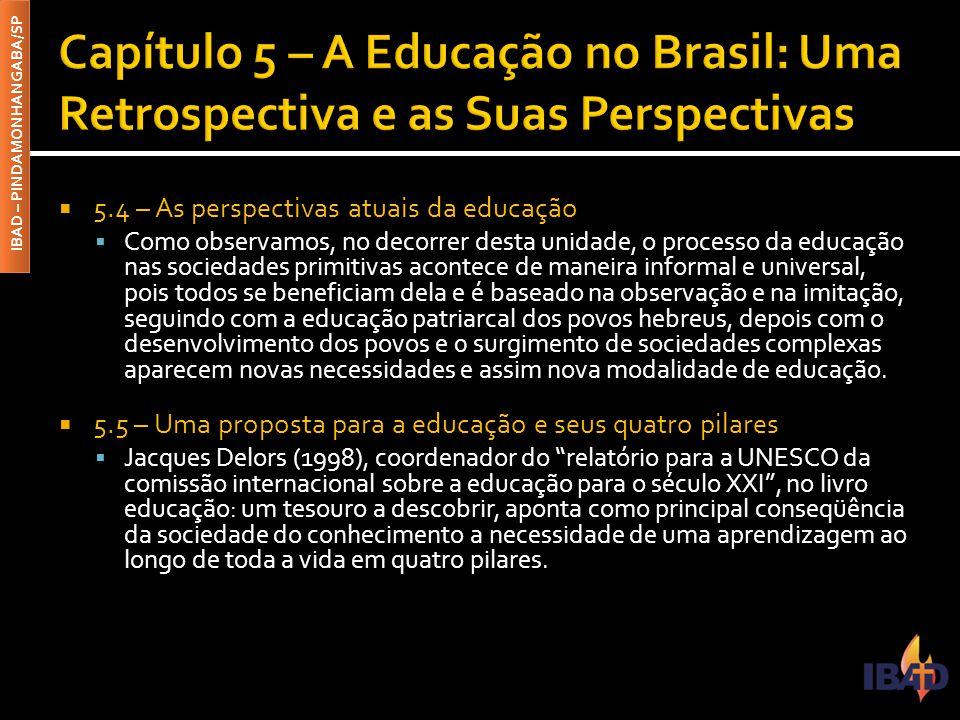 IBAD – PINDAMONHANGABA/SP  5.4 – As perspectivas atuais da educação  Como observamos, no decorrer desta unidade, o processo da educação nas sociedad