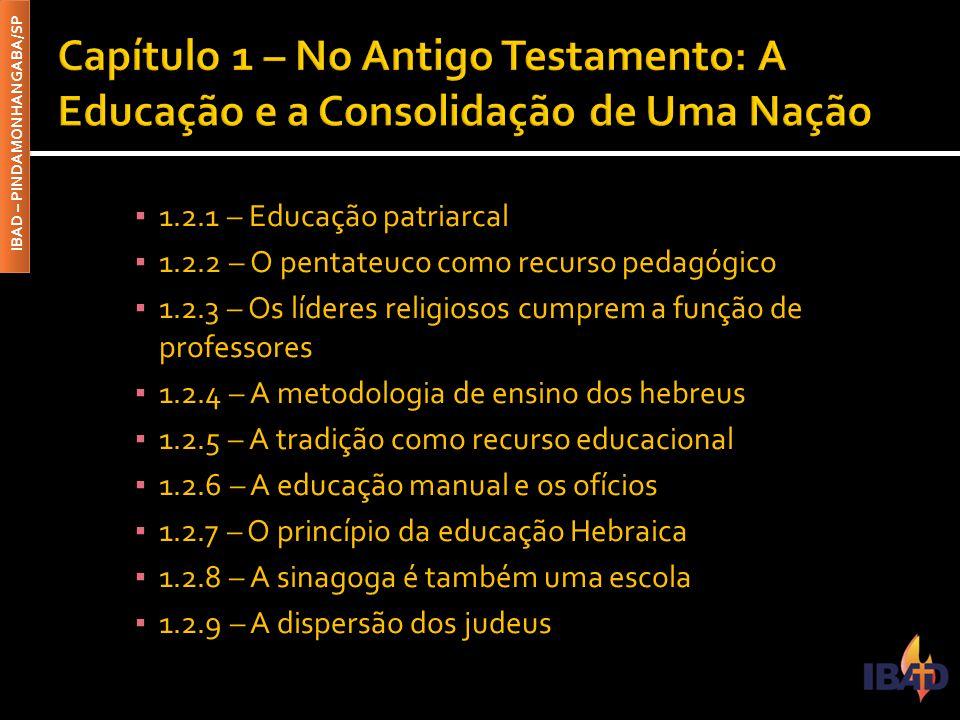 IBAD – PINDAMONHANGABA/SP ▪ 1.2.1 – Educação patriarcal ▪ 1.2.2 – O pentateuco como recurso pedagógico ▪ 1.2.3 – Os líderes religiosos cumprem a funçã