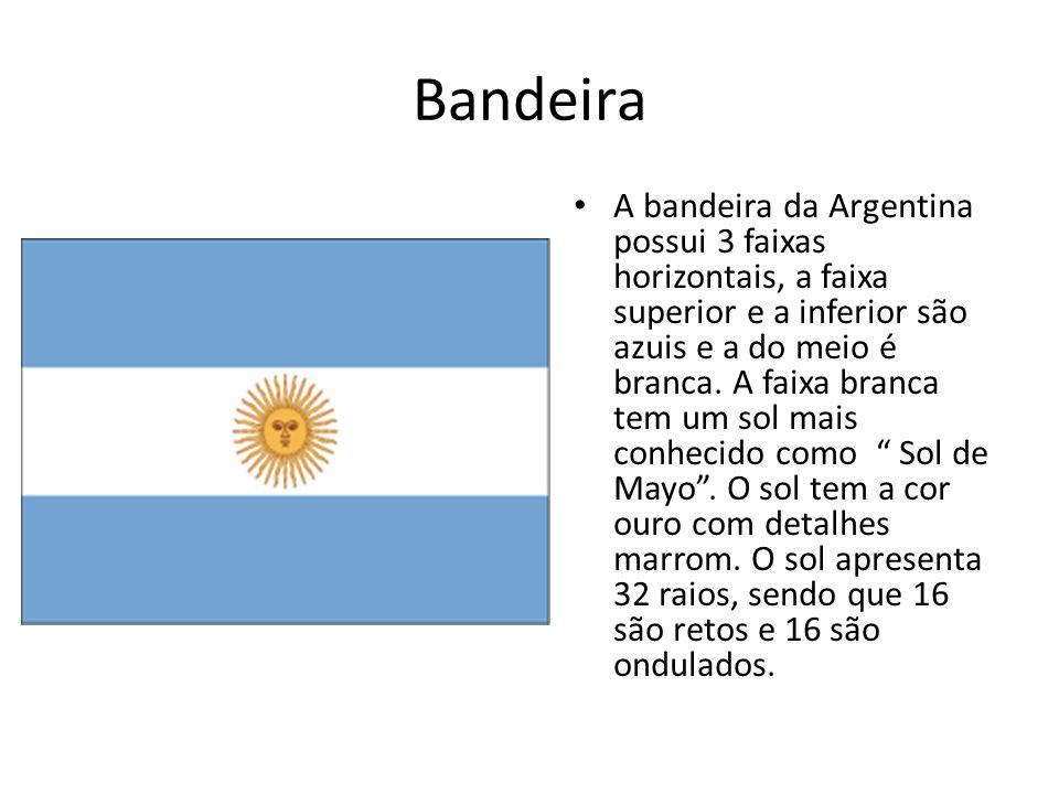 Bandeira A bandeira da Argentina possui 3 faixas horizontais, a faixa superior e a inferior são azuis e a do meio é branca. A faixa branca tem um sol