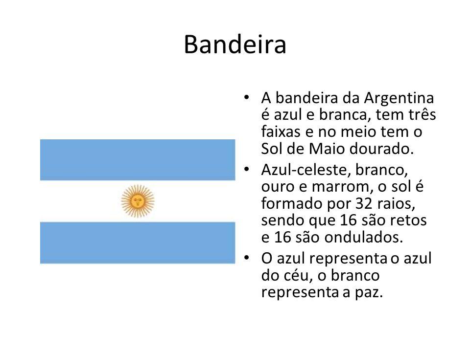 Bandeira A bandeira da Argentina é azul e branca, tem três faixas e no meio tem o Sol de Maio dourado. Azul-celeste, branco, ouro e marrom, o sol é fo