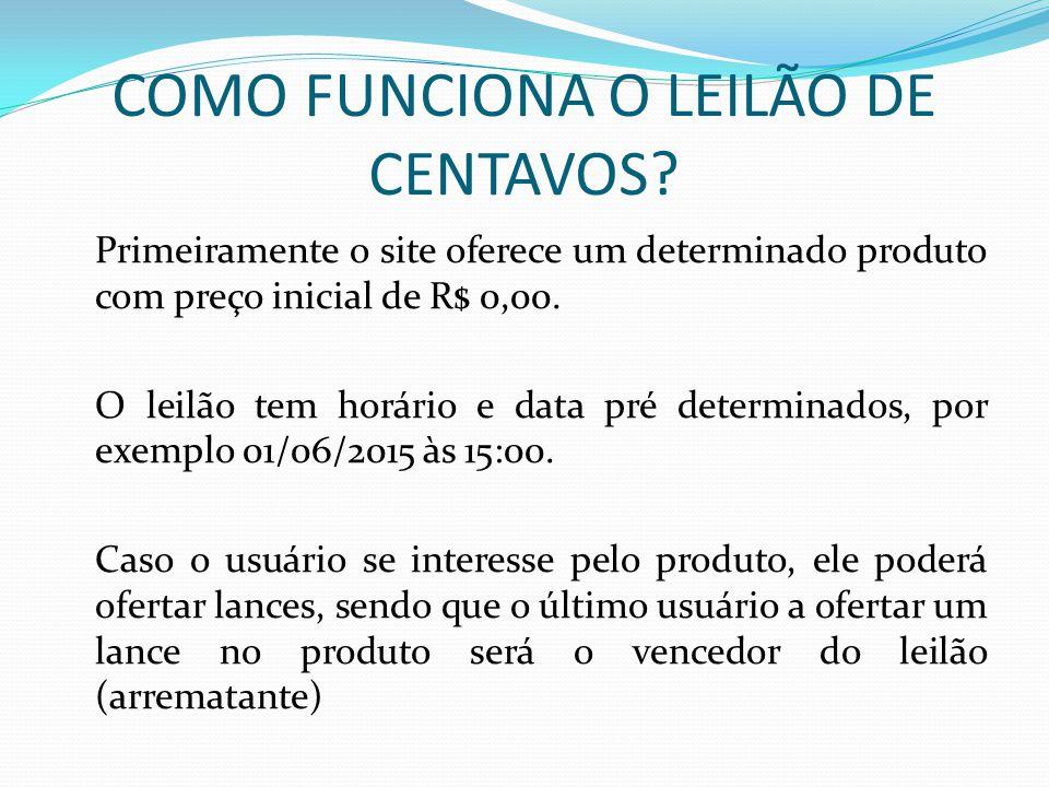 COMO FUNCIONA O LEILÃO DE CENTAVOS? Primeiramente o site oferece um determinado produto com preço inicial de R$ 0,00. O leilão tem horário e data pré