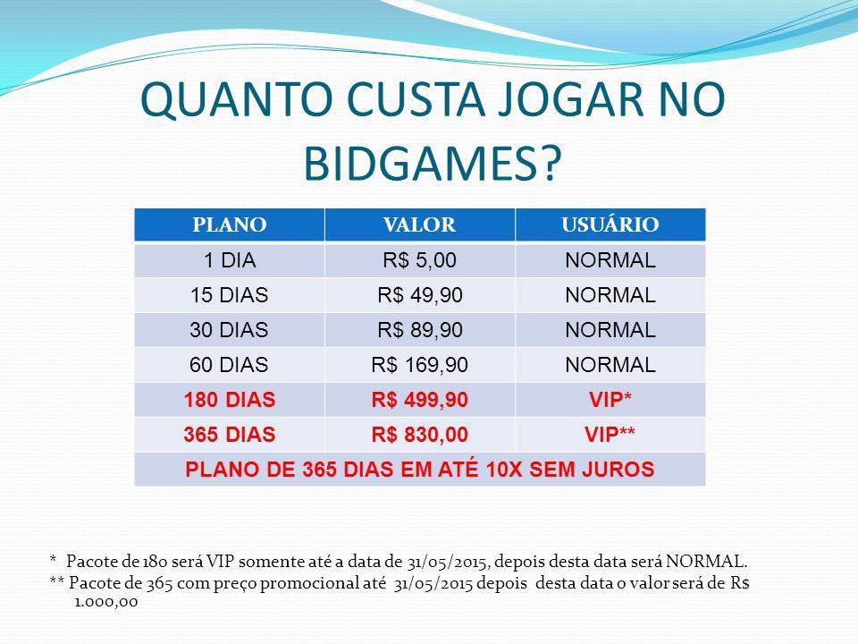 QUANTO CUSTA JOGAR NO BIDGAMES? * Pacote de 180 será VIP somente até a data de 31/05/2015, depois desta data será NORMAL. ** Pacote de 365 com preço p