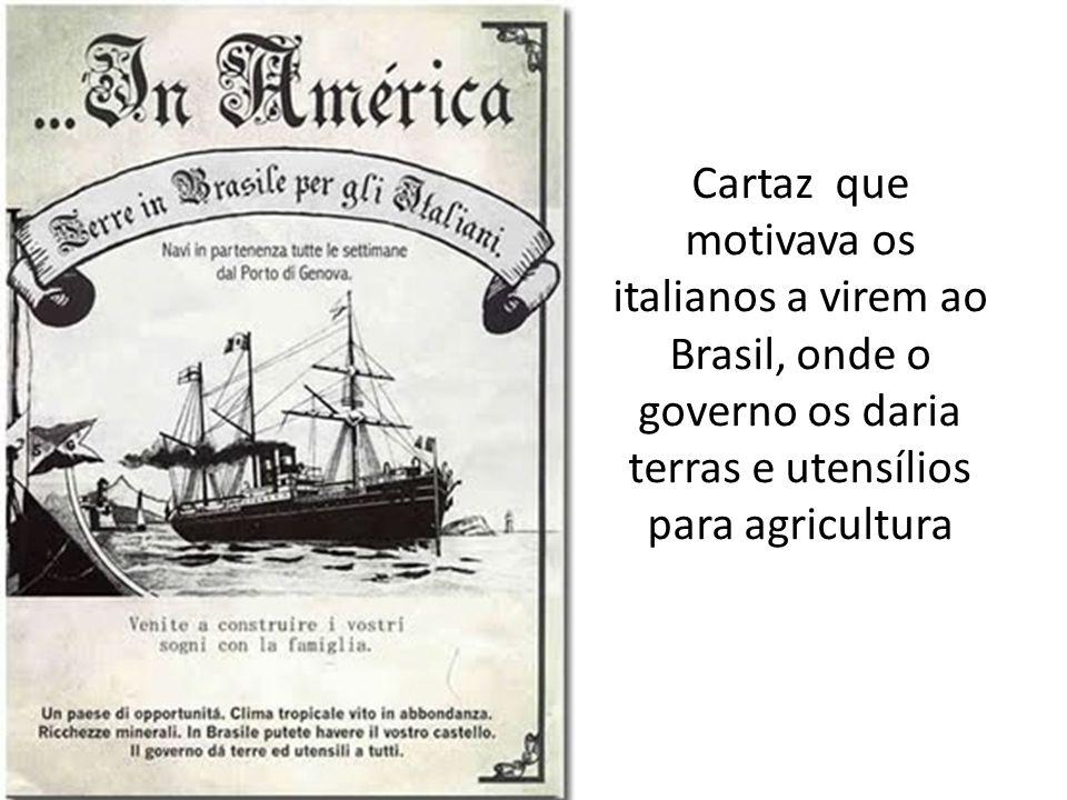 Cartaz que motivava os italianos a virem ao Brasil, onde o governo os daria terras e utensílios para agricultura