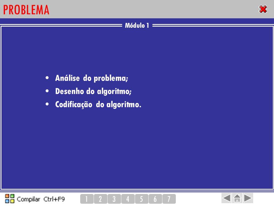 Módulo 1 1234567 PROBLEMA Análise do problema; Desenho do algoritmo; Codificação do algoritmo.