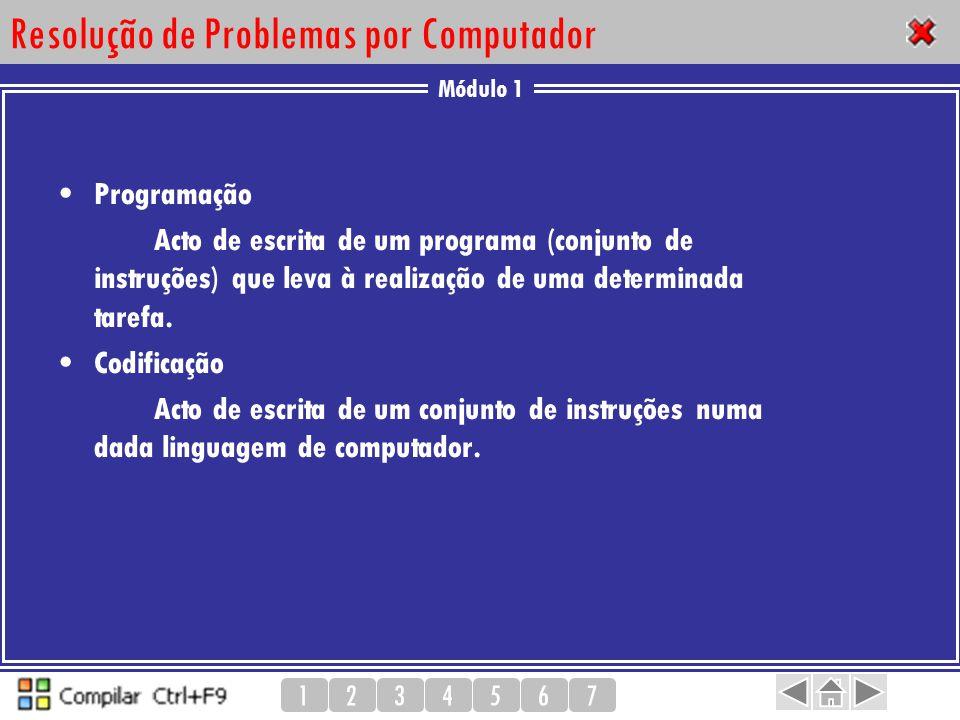 Módulo 1 1234567 Resolução de Problemas por Computador Programação Acto de escrita de um programa (conjunto de instruções) que leva à realização de um