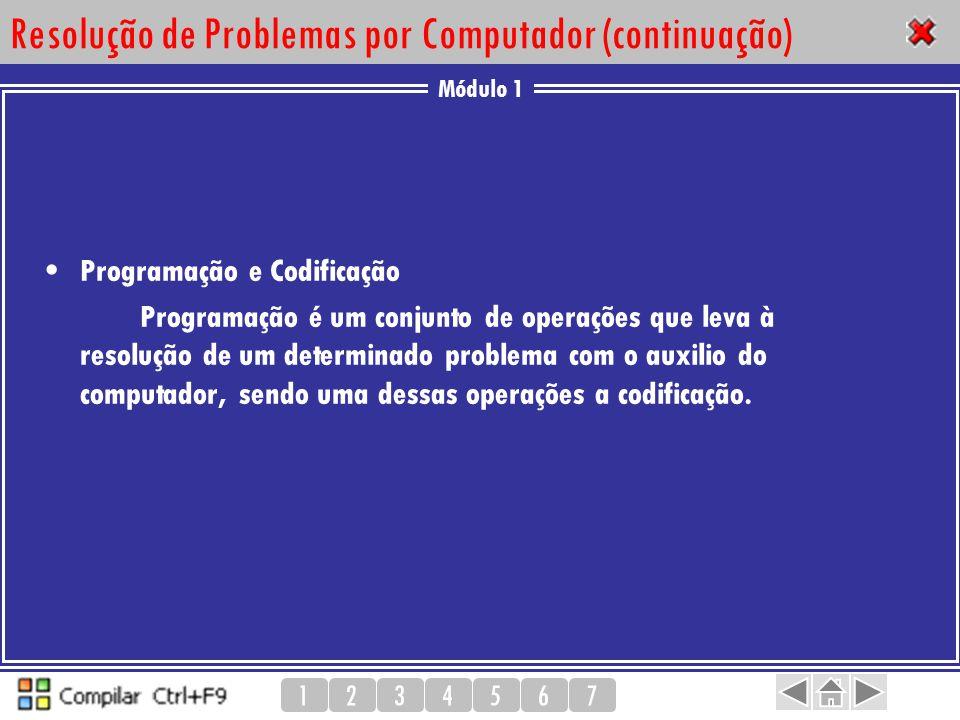 Módulo 1 1234567 Resolução de Problemas por Computador (continuação) Programação e Codificação Programação é um conjunto de operações que leva à resol