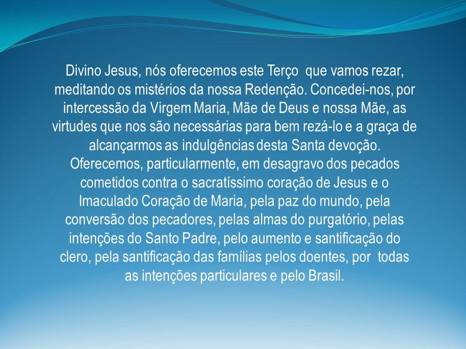 Divino Jesus, nós oferecemos este Terço que vamos rezar, meditando os mistérios da nossa Redenção. Concedei-nos, por intercessão da Virgem Maria, Mãe