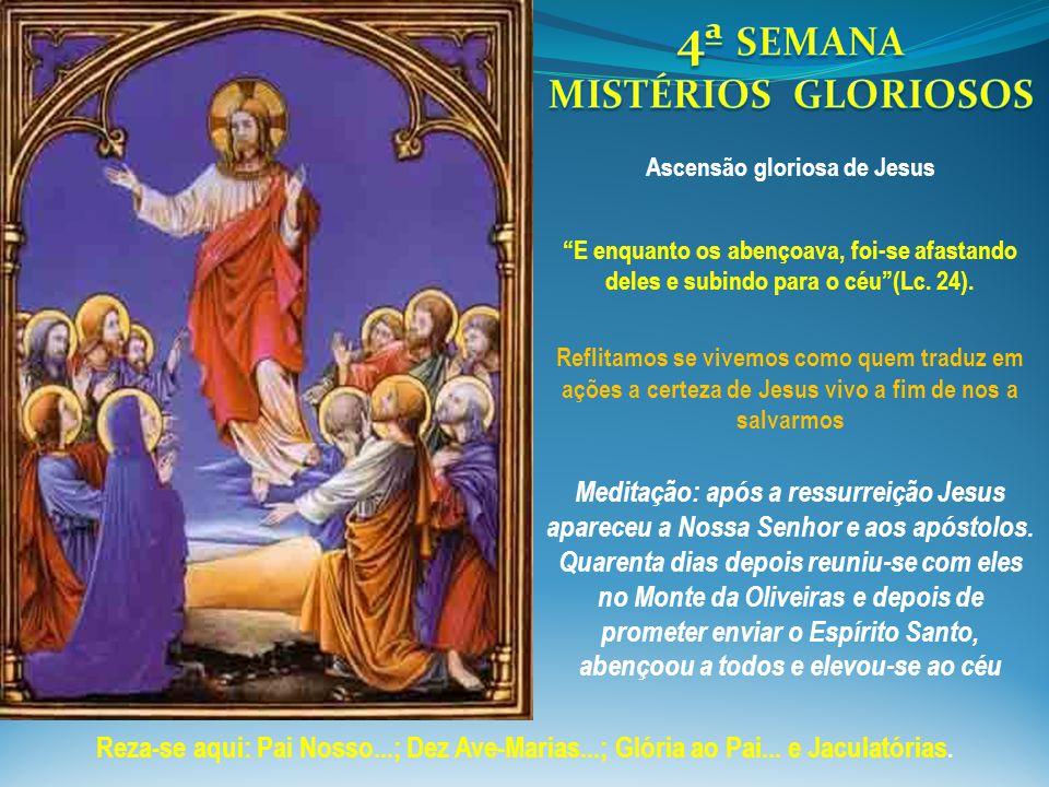 """""""E enquanto os abençoava, foi-se afastando deles e subindo para o céu""""(Lc. 24). Meditação: após a ressurreição Jesus apareceu a Nossa Senhor e aos apó"""