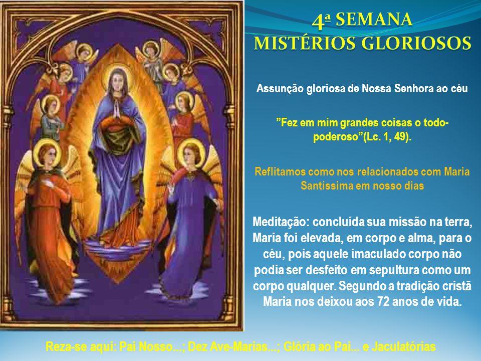"""""""Fez em mim grandes coisas o todo- poderoso""""(Lc. 1, 49). Reflitamos como nos relacionados com Maria Santíssima em nosso dias Meditação: concluída sua"""