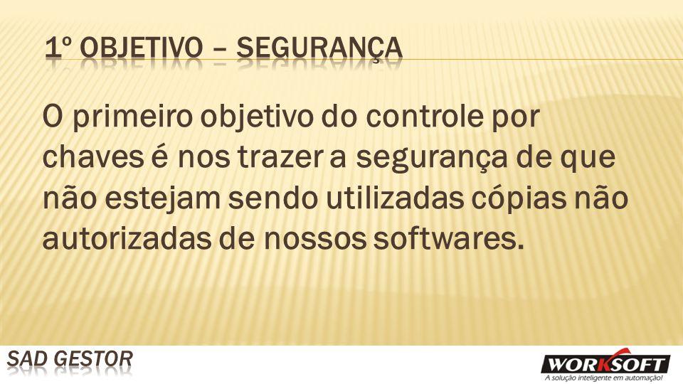 O primeiro objetivo do controle por chaves é nos trazer a segurança de que não estejam sendo utilizadas cópias não autorizadas de nossos softwares.