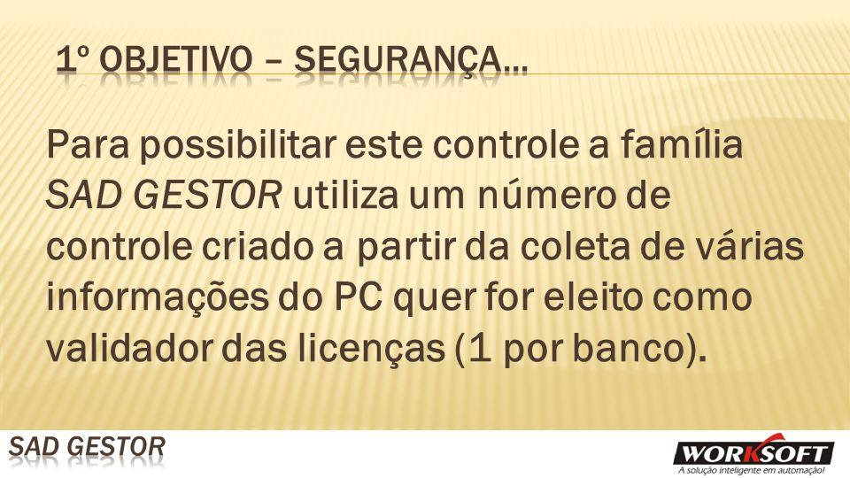 Para possibilitar este controle a família SAD GESTOR utiliza um número de controle criado a partir da coleta de várias informações do PC quer for eleito como validador das licenças (1 por banco).