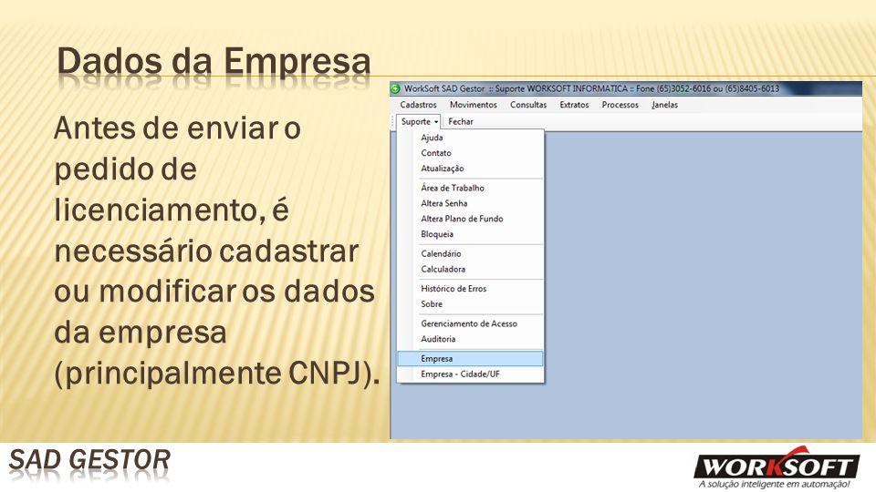 Antes de enviar o pedido de licenciamento, é necessário cadastrar ou modificar os dados da empresa (principalmente CNPJ).