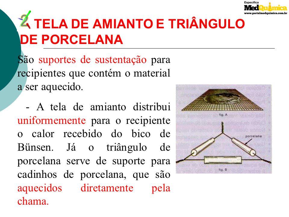 3.SUPORTE UNIVERSAL E TRIPÉ DE FERRO Tripé de ferro : Serve de sustentação à tela de amianto ou ao triângulo de porcelana. É constituído de ferro fund