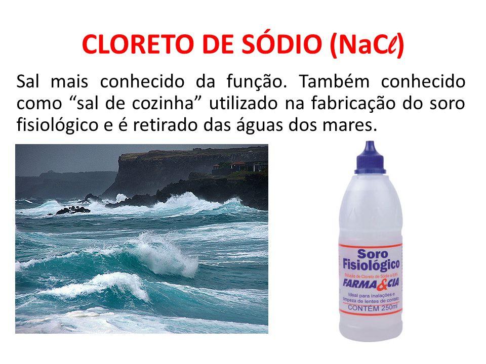 """CLORETO DE SÓDIO (NaC l ) Sal mais conhecido da função. Também conhecido como """"sal de cozinha"""" utilizado na fabricação do soro fisiológico e é retirad"""