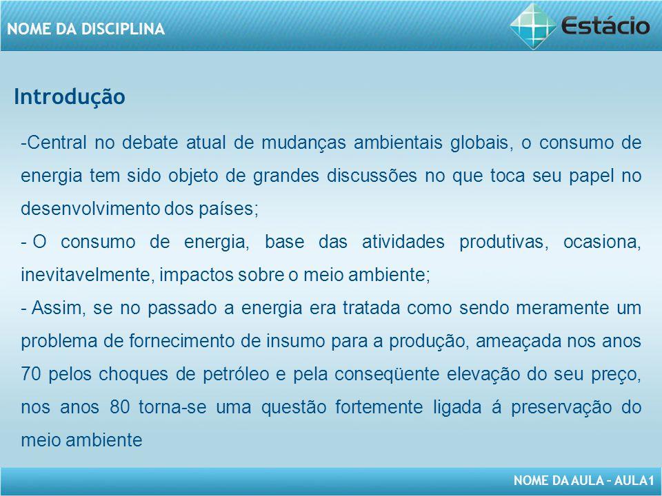 NOME DA AULA – AULA1 NOME DA DISCIPLINA -O desenvolvimento sustentável tem sido conceituado de diversos formas.