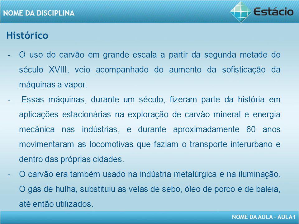 NOME DA AULA – AULA1 NOME DA DISCIPLINA Histórico -O uso do carvão em grande escala a partir da segunda metade do século XVIII, veio acompanhado do aumento da sofisticação da máquinas a vapor.