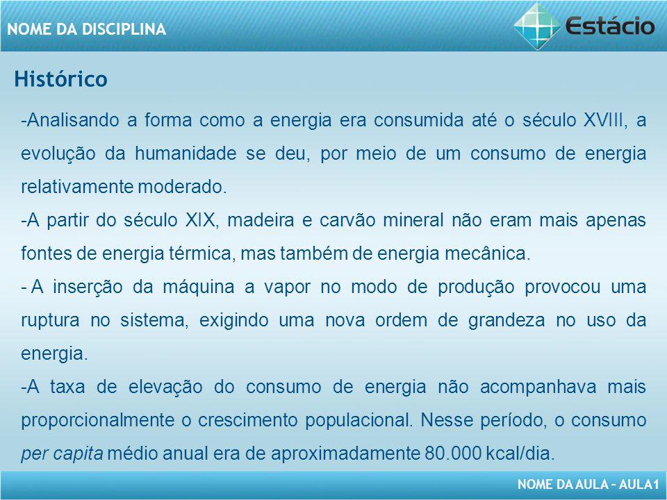 NOME DA AULA – AULA1 NOME DA DISCIPLINA -Analisando a forma como a energia era consumida até o século XVIII, a evolução da humanidade se deu, por meio de um consumo de energia relativamente moderado.