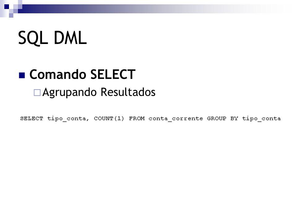 SQL DML Comando SELECT  Agrupando Resultados