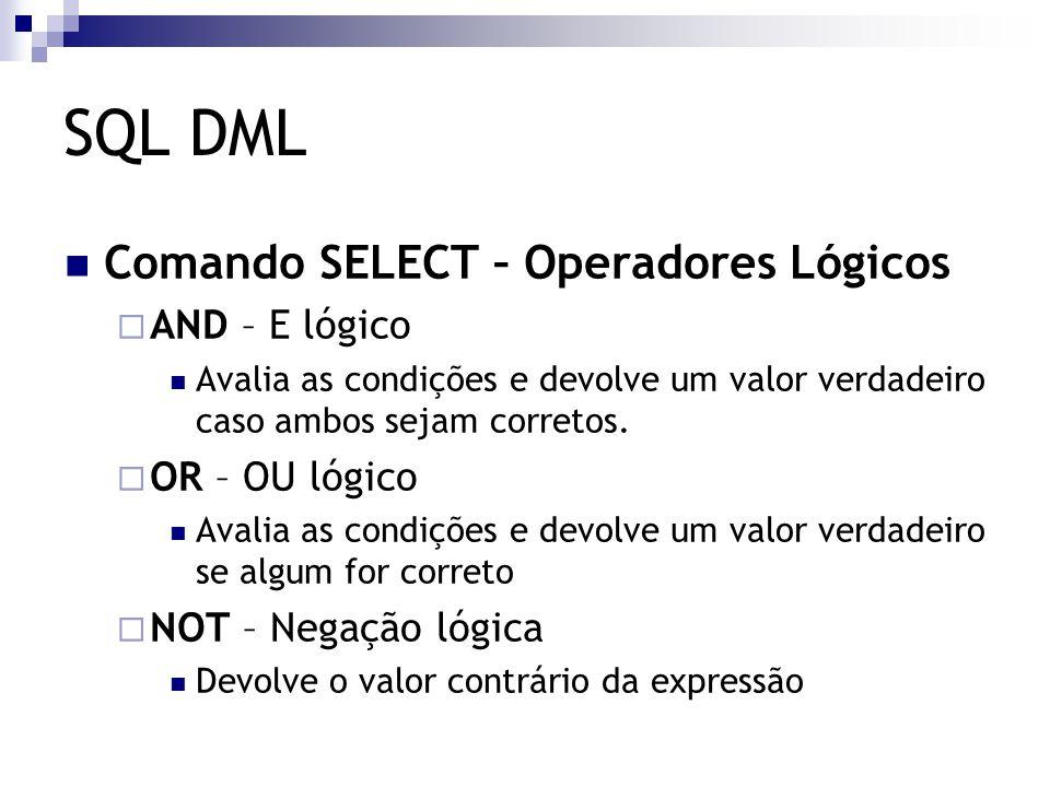 SQL DML Comando SELECT – Operadores Lógicos  AND – E lógico Avalia as condições e devolve um valor verdadeiro caso ambos sejam corretos.