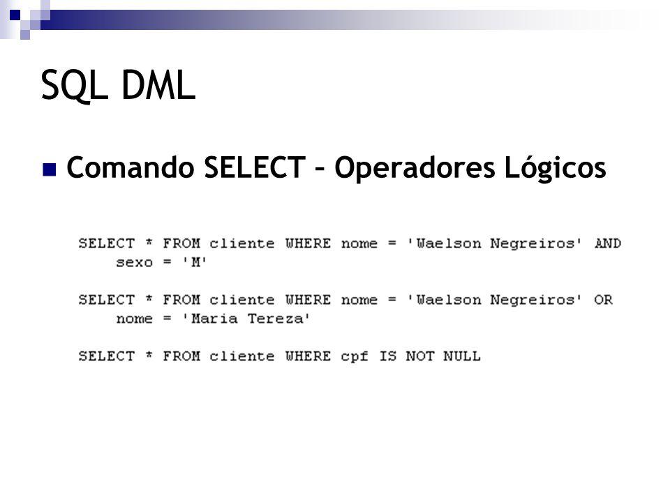 SQL DML Comando SELECT – Operadores Lógicos