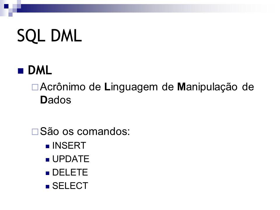 SQL DML DML  Acrônimo de Linguagem de Manipulação de Dados  São os comandos: INSERT UPDATE DELETE SELECT