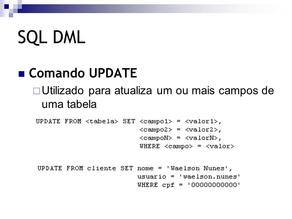 SQL DML Comando UPDATE  Utilizado para atualiza um ou mais campos de uma tabela