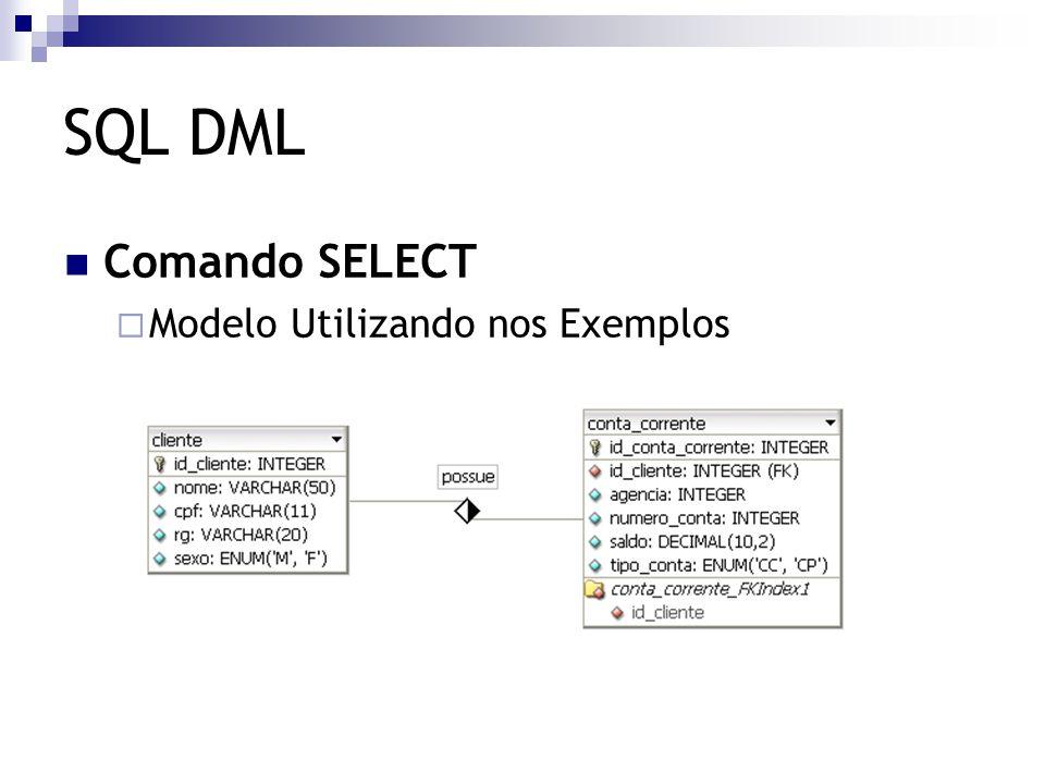 SQL DML Comando SELECT  Modelo Utilizando nos Exemplos